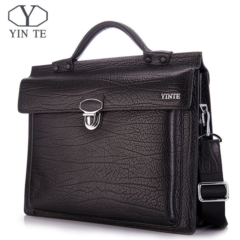 YINTE Leather Briefcase Men Bags Business Handbag Messenger Laptop Man Shoulder Bag Office Lawyer Black Totes Portfolio T8639-5 цена и фото