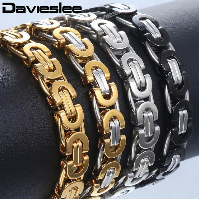 Davieslee Mens צמיד זהב כסף טון ביזנטית נירוסטה שרשרות צמידי לגברים תכשיטים מתנה 6/8/11mm DLKB35