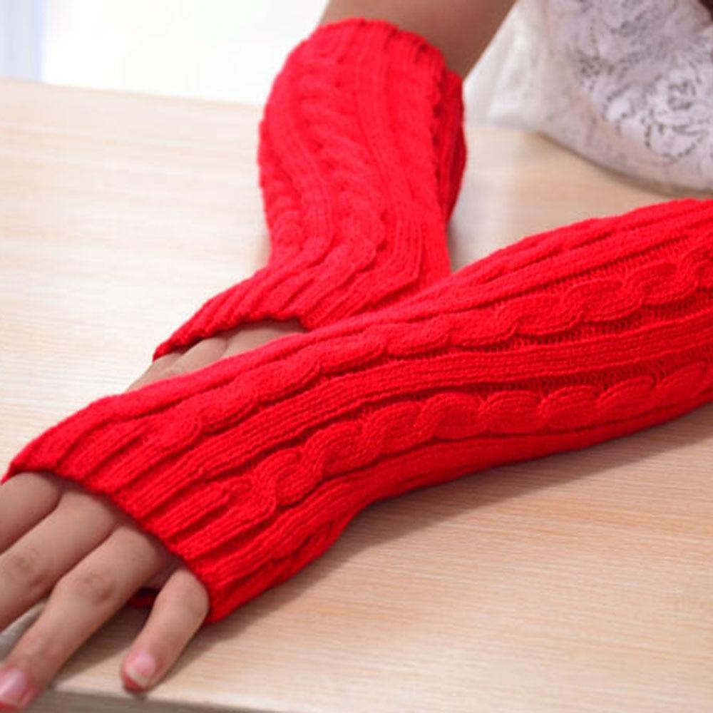 Handschuh-fingerlose Stricken Twist Winter Warme Weiche Mode Wärmer Dame Handschuhe Praktische Casual Handschuhe Lange Arm Frauen Herbst Armstulpen