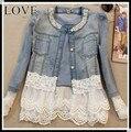 [Rendas Beading Jaqueta] Novo 2015 calças de Brim de renda Casacos Manga Comprida Light Blue Jaqueta jaqueta feminina calça jeans mulheres jaqueta chaquetas mujer