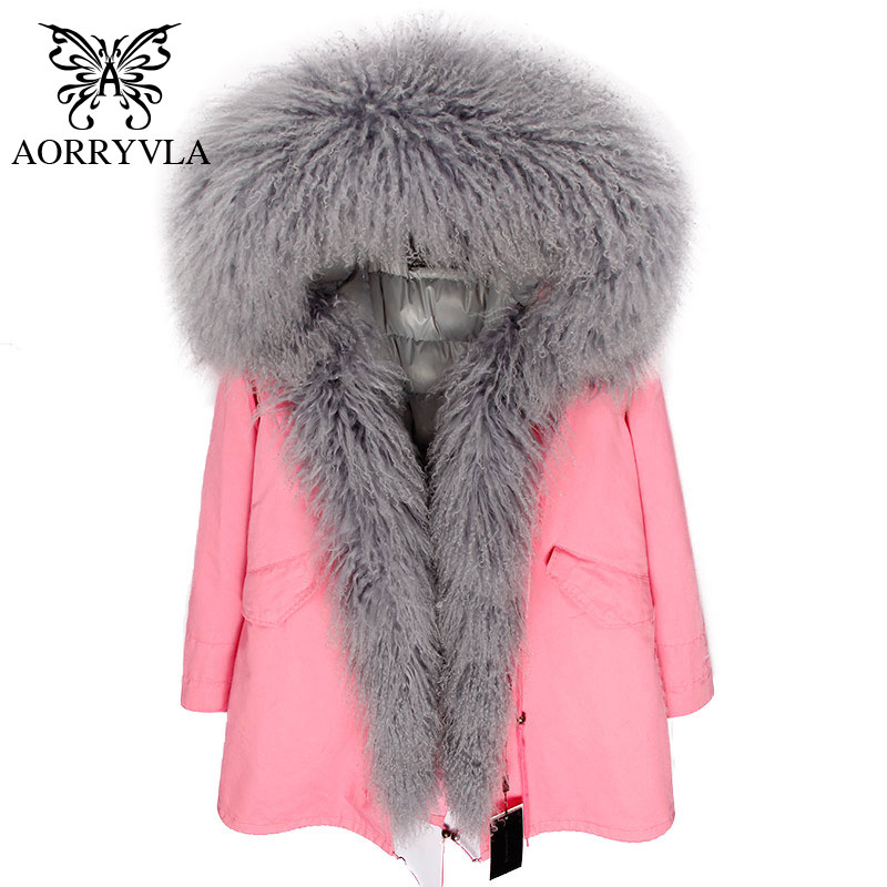 AORRYVLA Hooded Warm Winter Long Coat Women 2018 Lamb Fur   Parka   Mongolia Sheep Collar With Down Lining Thick Winter Jacket