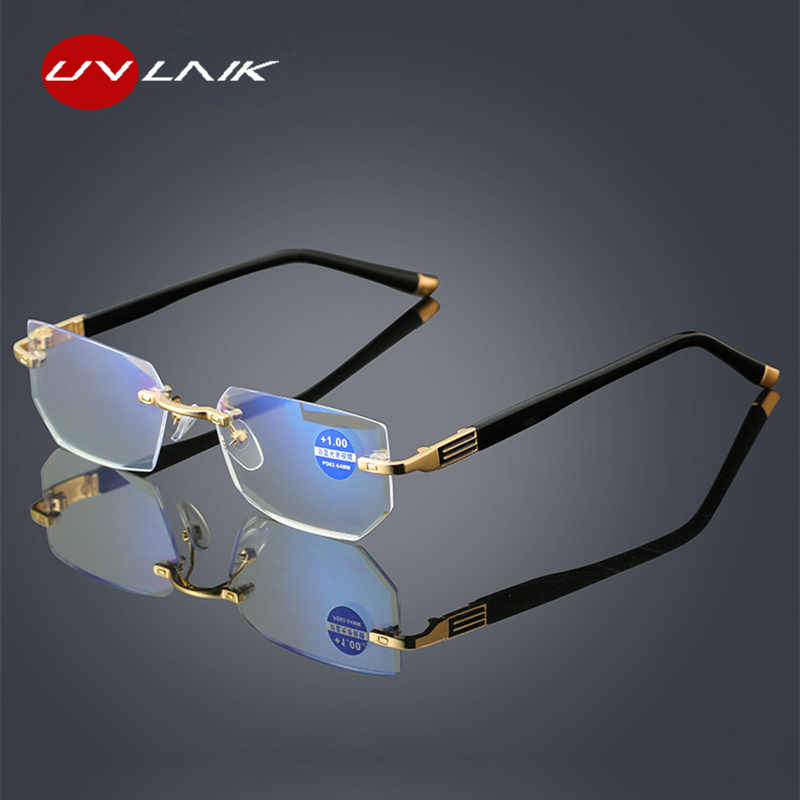 UVLAIK Anti blue Light Reading Glasses Women Diamond cutting Rimeles Eyeglasses Men Anti fatigue Hyperopia Presbyopic Eyewear