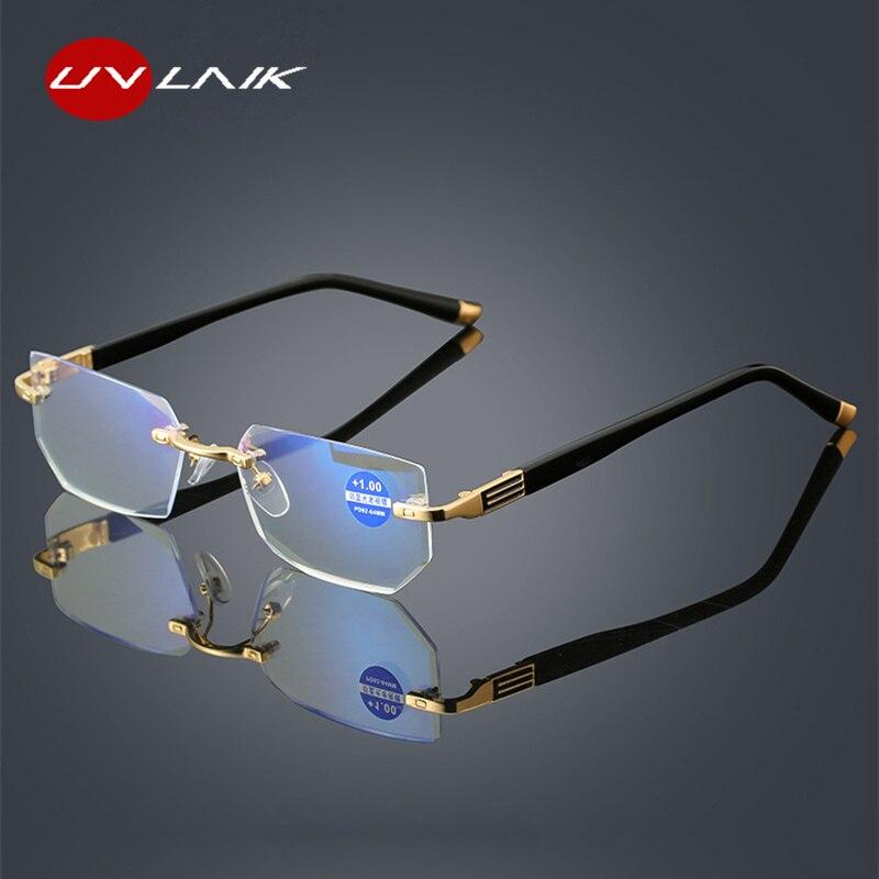 45cd62752 UVLAIK Anti Luz azul Homens Mulheres Óculos de Leitura Óculos de Diamante  de corte Rimeles Anti fatigue Hipermetropia Presbiopia Eyewear