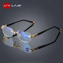 UVLAIK-gafas de lectura con luz azul para hombre y mujer, anteojos con corte de Diamante, para presbicia, antifatiga, hipermetropía