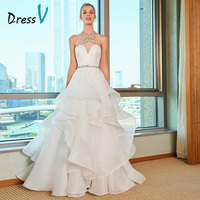 Dressv Custom Wedding Dress Halter Neck Bead Sleeveless Tiered Sexy Cut Out Back Zipper Custom Ivory Organza Satin Wedding Dress