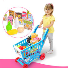 Large Children Pretend Play Super market Shopping Cart Toy With fruit egg vegetable Indoor Outdoor toy blue pink kitchen toy