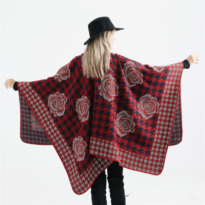 Eranlee Houndstooth Warm Pashmina Stoles Women   Scarf   Shawls Lady Poncho Capes Floral Pattern Winter Thick Cashmere   Scarves     Wraps