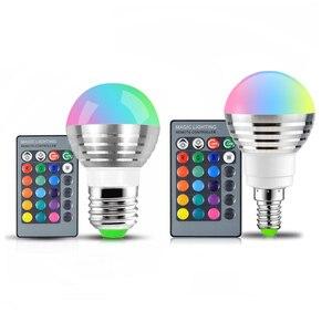 Image 1 - 110 v 220 v 85 265 v e27 e14 rgb led 전구 16 색 매직 led 야간 조명 램프 dimmable 무대 조명/24key 원격 제어 휴일