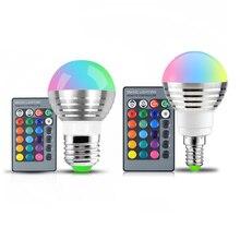 110V 220V 85 265V E27 E14 หลอด LED RGB 16 สี Magic LED Night Light โคมไฟหรี่แสงได้แสง/24key รีโมทคอนโทรล Holiday