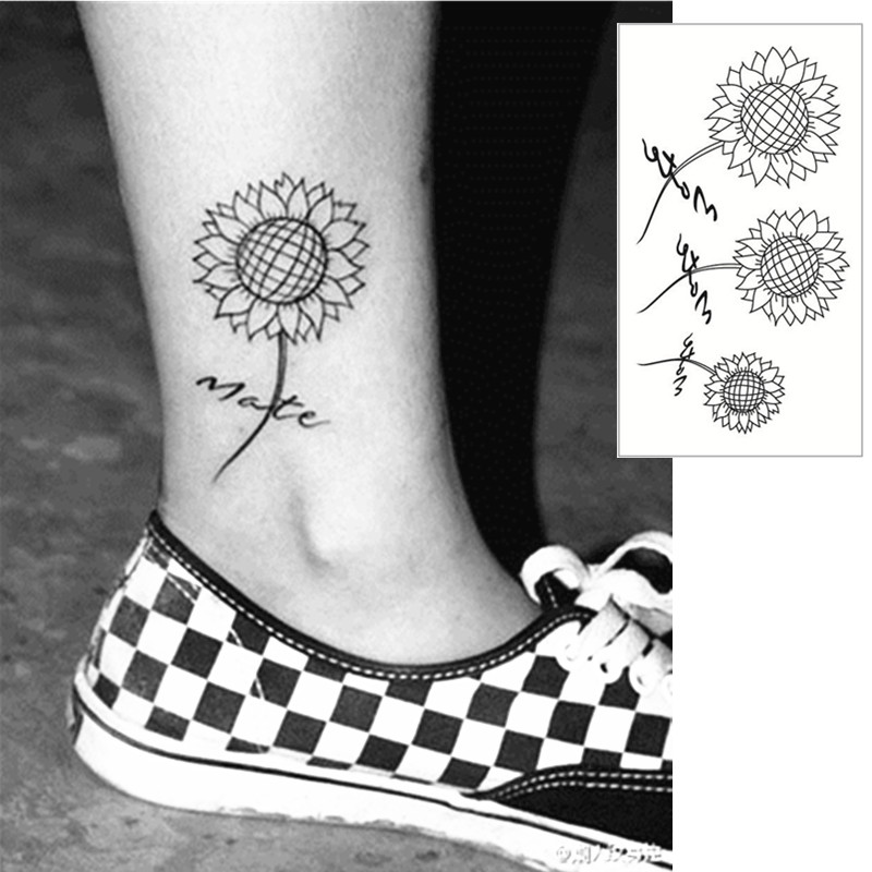 Us 0 55 Sunflower Flash Tattoo Hand Sticker 10 5 6cm Small Waterproof Henna Beauty Temporary Body Tattoo Sticker Art Free Shipping In Temporary