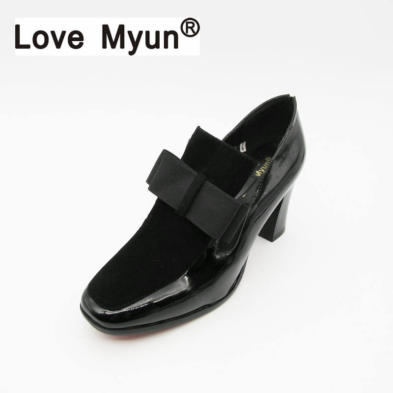 New REAL PHOTO high heels pumps square toe genuine leather shoes women ladies black Sexy chaussure