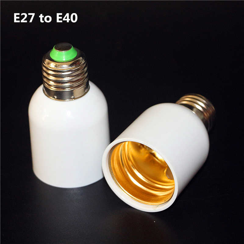 1Pcs High Quality E27 to E40 E39 Lamp Base Socket Bulb Holder Adapter Fireproof ABS Material Halogen LED Light Adapter Converter