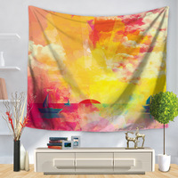 WARM TOUR Red Yellow Pink Abstract Painting Blanket Travel Mattress Mandala Tapestry Wall Hanging Sandy Beach Picnic Throw Rug