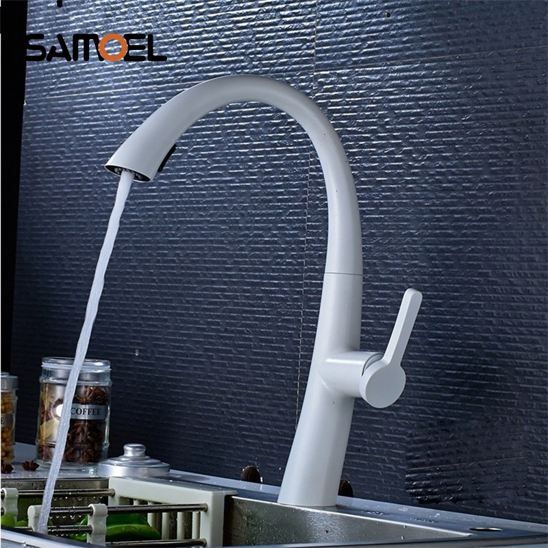 White Pull Out  Kitchen Faucet Bathroom Mixer Tap Deck Mounted Swivel Spout Stream Sprayer Lead-free Shower Mixer Tap torneira free shipping high quality chrome brass kitchen faucet single handle sink mixer tap pull put sprayer swivel spout faucet