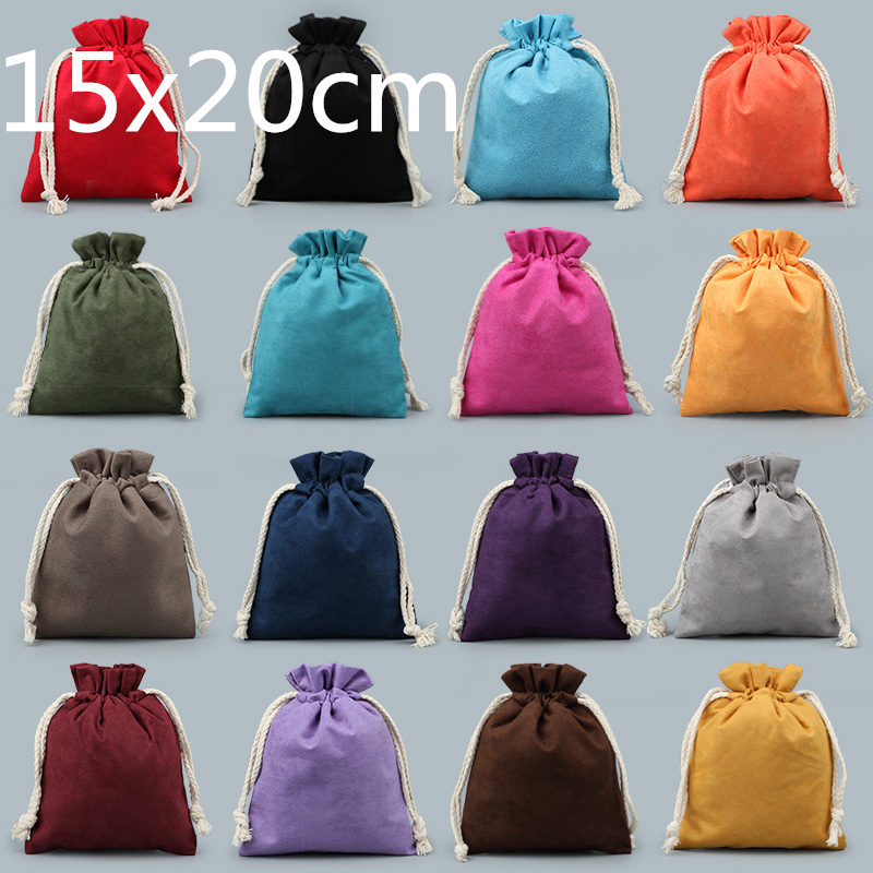 thicken velvet travel jewellery pouch towel lining drawstring bag large christmas gift bags for jewelry storage bag 50pcslot