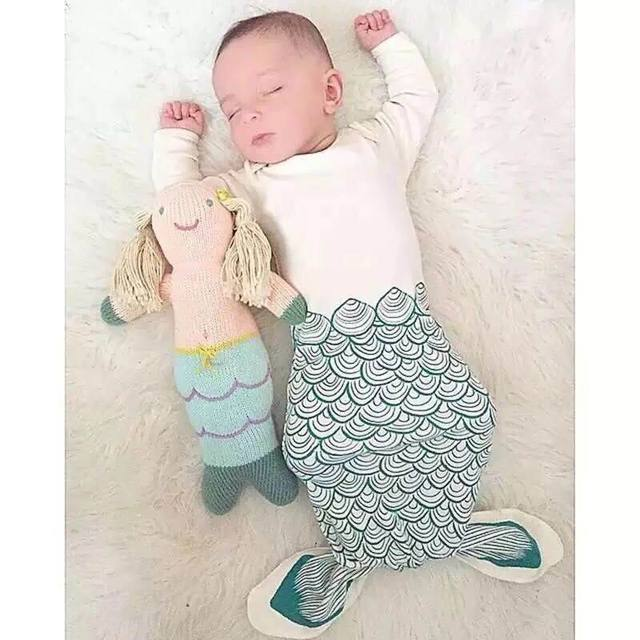 Ins Baby Sleep Bag Cartoon Shark Mermaid Anti Kick Quilt Baby Long Sleeve Nursery Bedding 0-2Y 1606