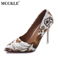MCCKLE Woman Slip On Elegant Shoes Leaves Printing Ladies Sexy Party Dress Pumps Stiletto Female Floral