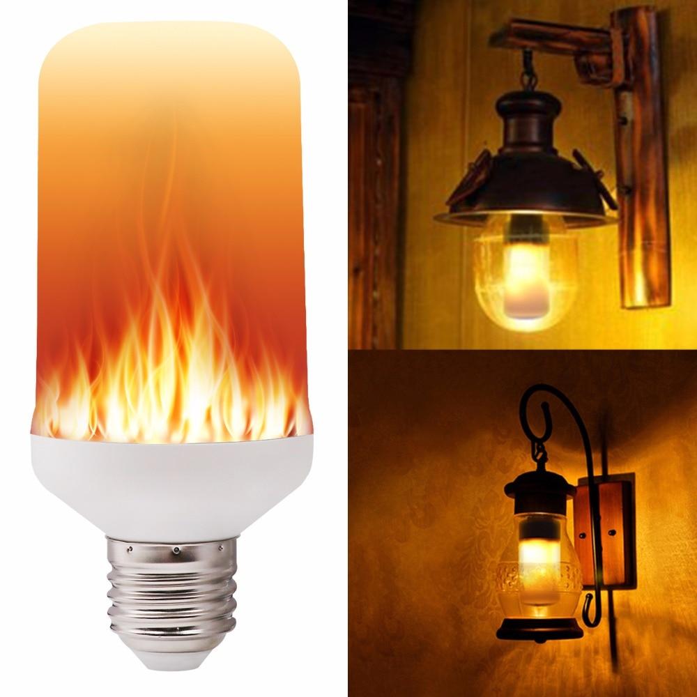 E27 E26 2835 Led Flame Effect Fire Light Bulbs 7w Creative Lights Flickering Emulation Vintage