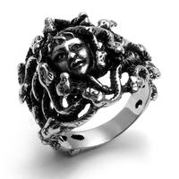 Biliss Cool Vintage Style Stainless Steel Greek Mythology Goddess Medusa Snake Haired Ring Band Jewelry Black