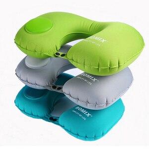Image 3 - Almohada para el cuello Kit de viaje para avión, tipo de presión portátil, almohada de viaje inflable automática, cojín de soporte para el cuello, almohada en U para coche
