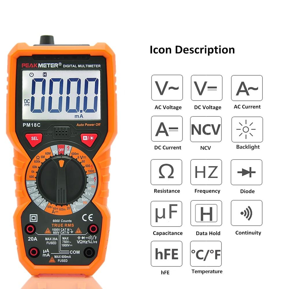 где купить Multifunctional Digital Multimeter Measuring AC/DC Voltage Current Resistance Capacitance Frequency hFE NCV Live Line Tester дешево