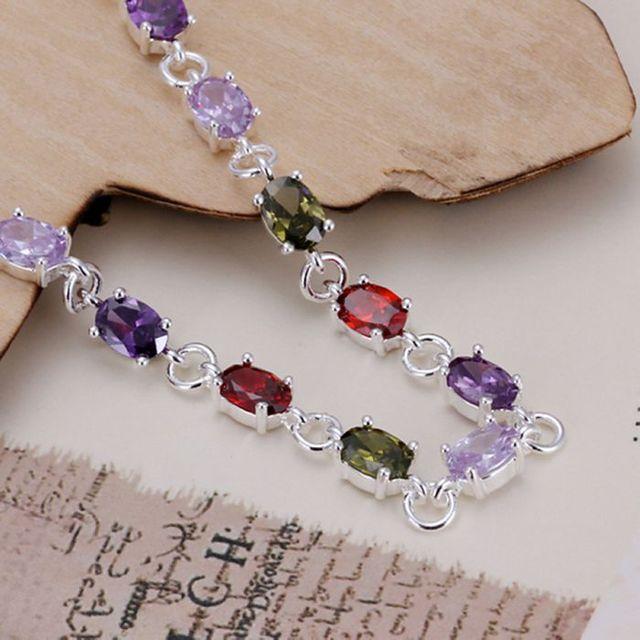 H258 925 sterling silver bracelet, 925 sterling silver fashion jewelry Colored stone bracelet /agtaiyaa btdakkka