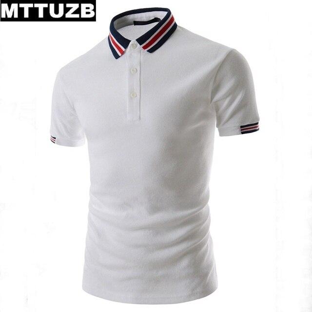 Мужчины Личность заклинание цвет polo рубашки мужская мода полосы отложным воротником тис человек вскользь коротким рукавом летом топы MTTUZB
