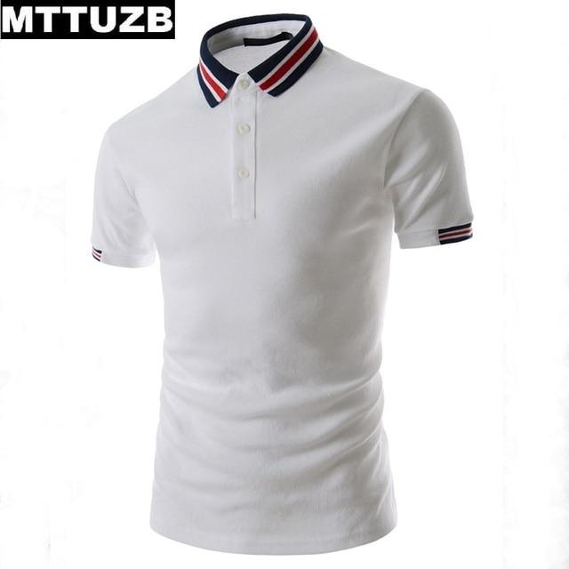 Men Personality spell color polo shirts men's fashion strip turn-down collar tees man casual short sleeve summer tops MTTUZB