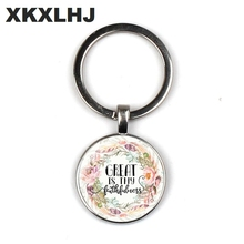 XKXLHJ New Bible Scripture Keychain Glass Dome Pendant Quotes Jewelry Christian Faith Inspirational Gifts