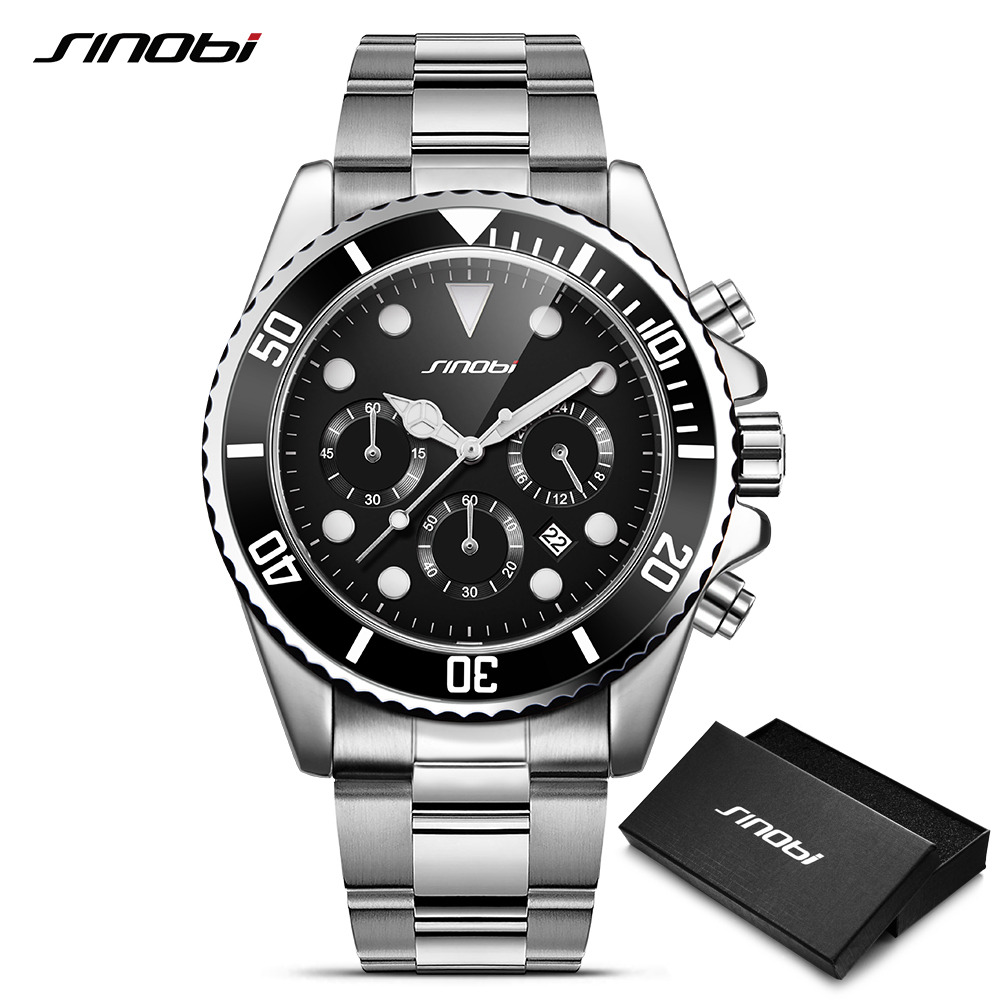 SINOBI Submariner 316l Full Steel Men Black Watch Rotatable Clock Mens Fashion Business Quartz Watch Sports Relogio Masculino l facini business 39 36834 black lf