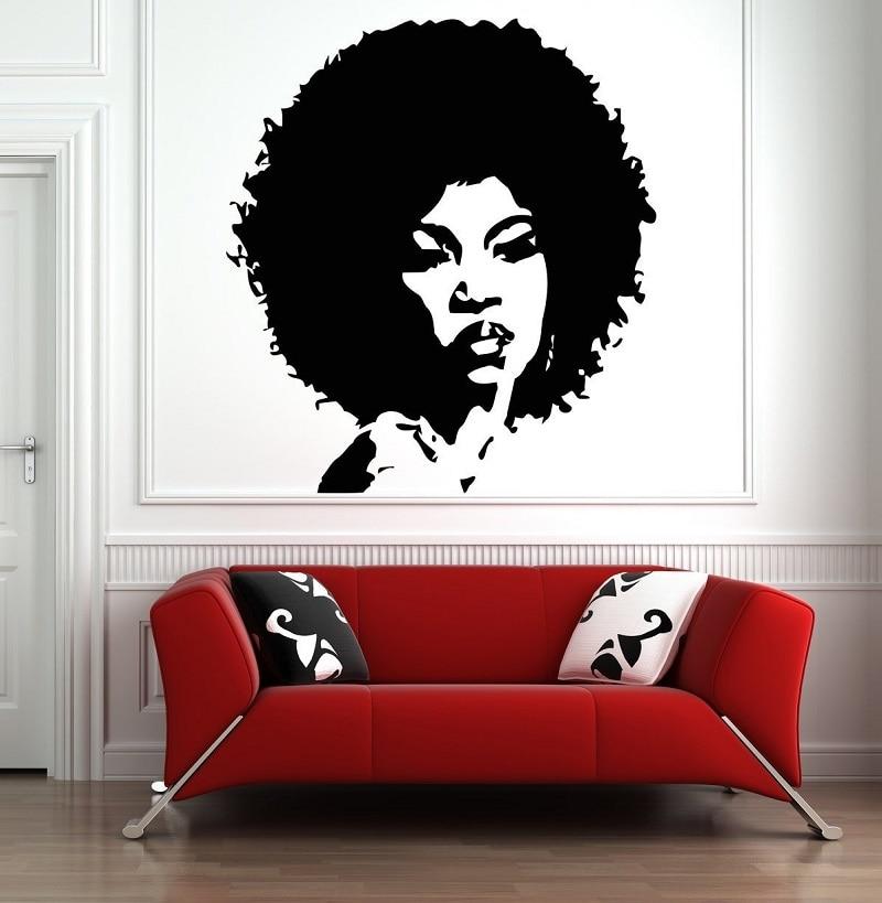 Beautiful African Woman Wall Decal Afro Woman Wall Sticker Beauty Salon Wall Art 2FZ9 in Wall Stickers from Home Garden