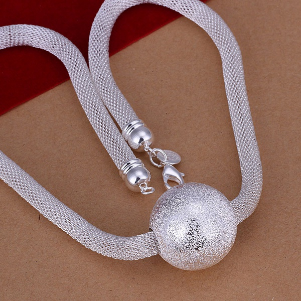 Silver plated exquisite noble luxury gorgeous charm fashion women Lady charming sand ball necklace Silver jewelry N182