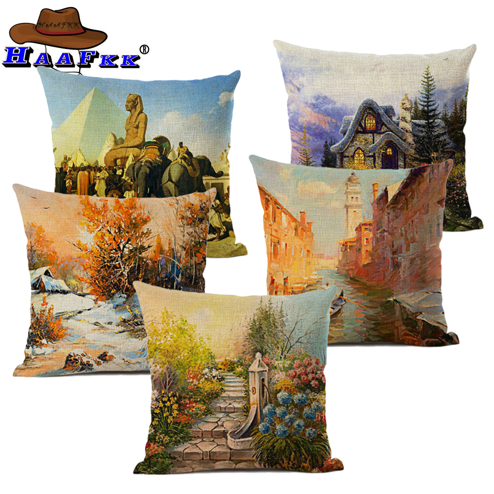 Van Gogh Oil Painting Decorative Cushion Cover Pillows Cojines Coussin Decoracion Para El Hogar Linen 45x45cm Throw Car Pillow Cushion Cover