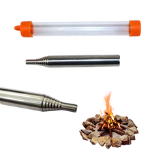 Portable Fire Starter Retractable Stainless Steel Camping Survival Blow Fire Tube Tools Outdoor Cooking Survival Blow Fire Tube
