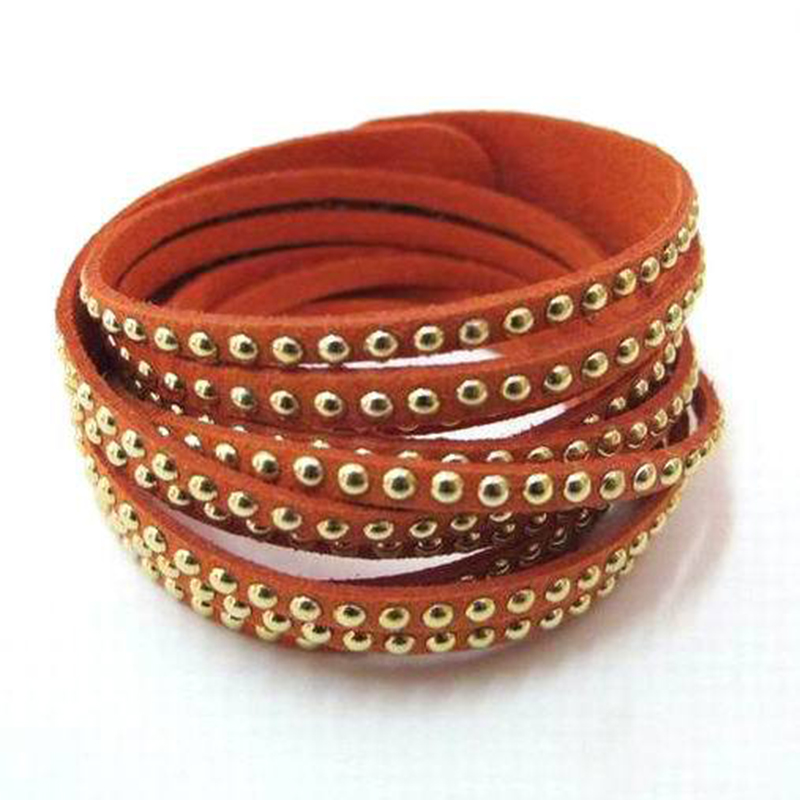Fashion rivet wrapped leather bracelet multi layer winding for Rivets for leather jewelry
