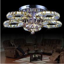 Modern stainless steel crystal Chandeliers light brief living room lamps K9 circle lighting Luxury pendant