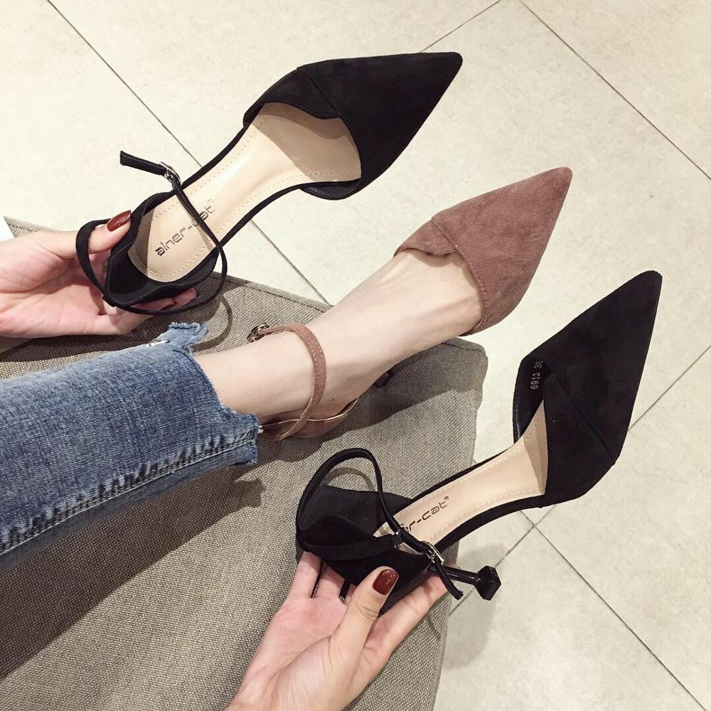 Spring and summer Casual trend high heels suede versatile stiletto <font><b>sexy</b></font> pointed <font><b>women's</b></font> <font><b>shoes</b></font> shallow mouth Fashion <font><b>women's</b></font> <font><b>shoe</b></font> image