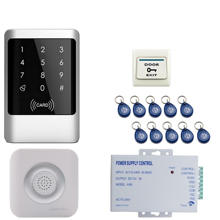 JEX Metal RFID Password Access Controller Touch key Waterproof Door control system kit +Doorbell+ Exit button + powerJEX Metal RFID Password Access Controller Touch key Waterproof Door control system kit +Doorbell+ Exit button + power