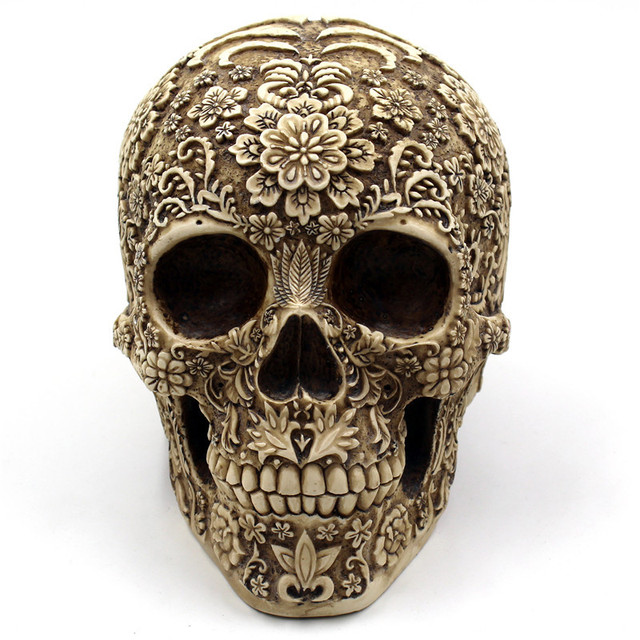 BUF Resin Crafts Retro Skull Sculptures Home Decoration Ornaments Creative Art Carving Statue