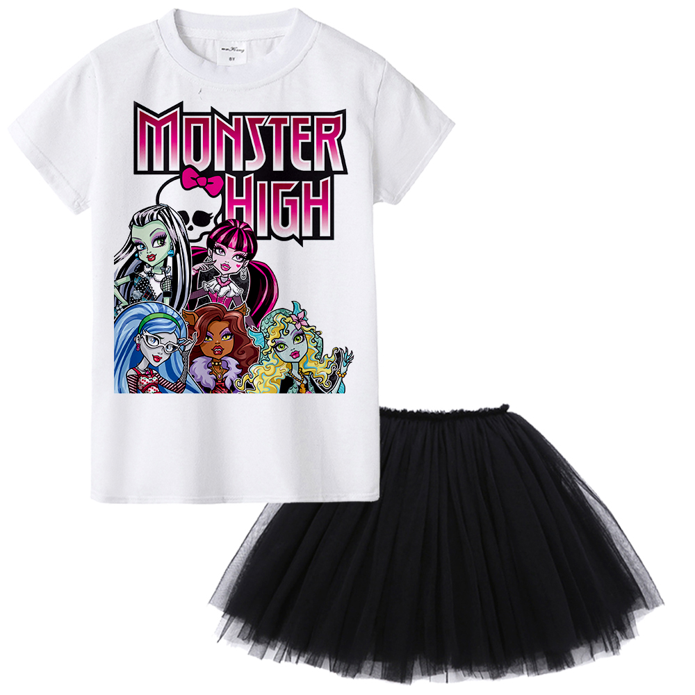 1Y To 12Y Monster High Children Clothing Set Kids Girl Cartoon Suit Toddler Summer Set Dress Skirt Two Pieces Baby Wear Clothes chamsgend summer kids cute baby girls vest pleated dress two pieces set clothes children skirt suit jan7 s25