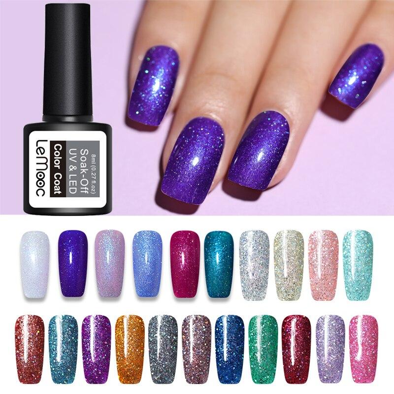 LEMOOC 8ml Glitter Holographic Nail Gel Polish Laser Shimmer Soak Off UV LED Gel Lacquer Manicure Design