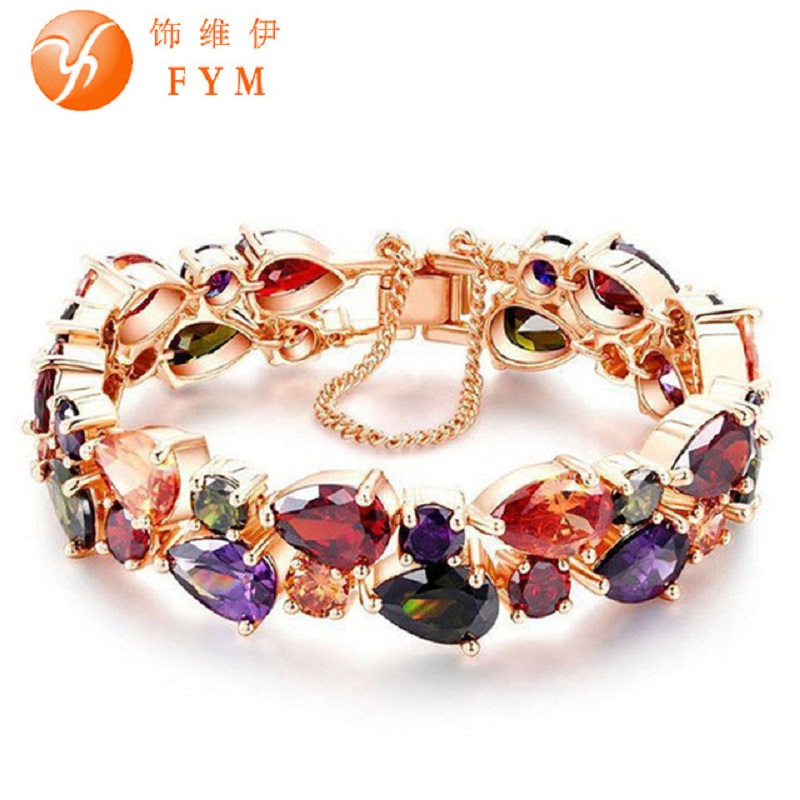 FYM Luxury Charm CZ Diamond Bracelet Trendy Rose Gold Plated Colorful Friendship Bracelet for Women Bride