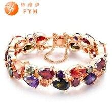 FYM encanto de lujo CZ pulsera de diamantes de moda rosa de oro chapado colorido pulsera de la amistad para las mujeres Novia novia joyas
