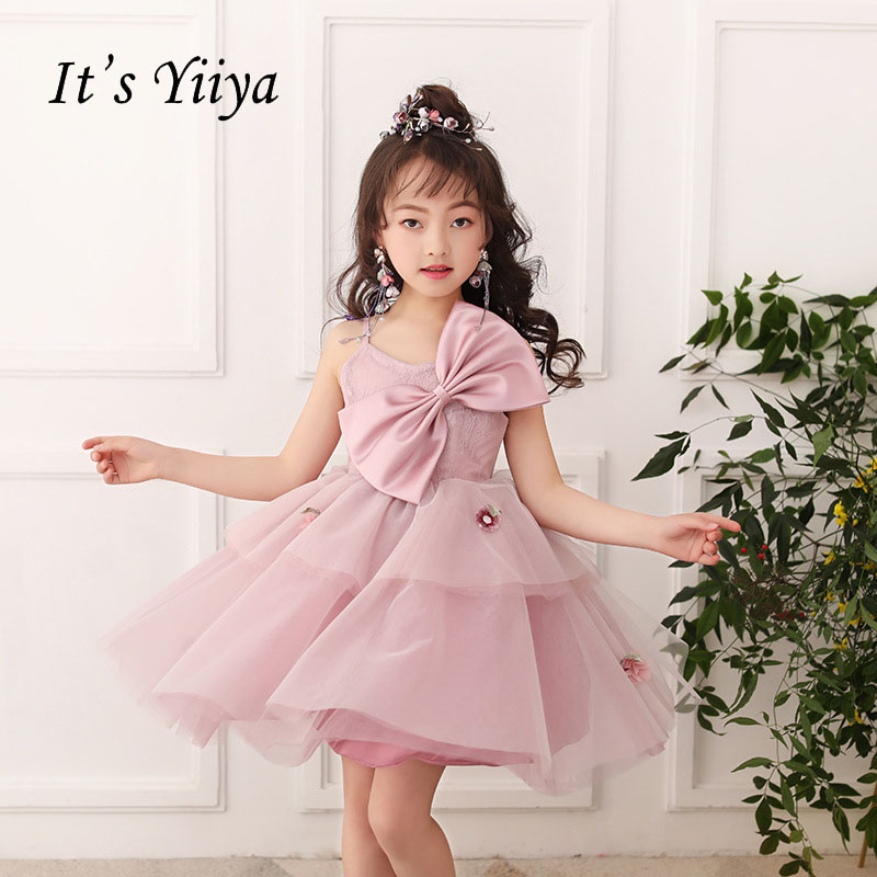 It's yiiya Zipper Princess Tiered Spaghetti Straps Kid   Flower   Child Cloth   Flower     Girl     Dress   For Party Wedding   Girl     Dress   S172