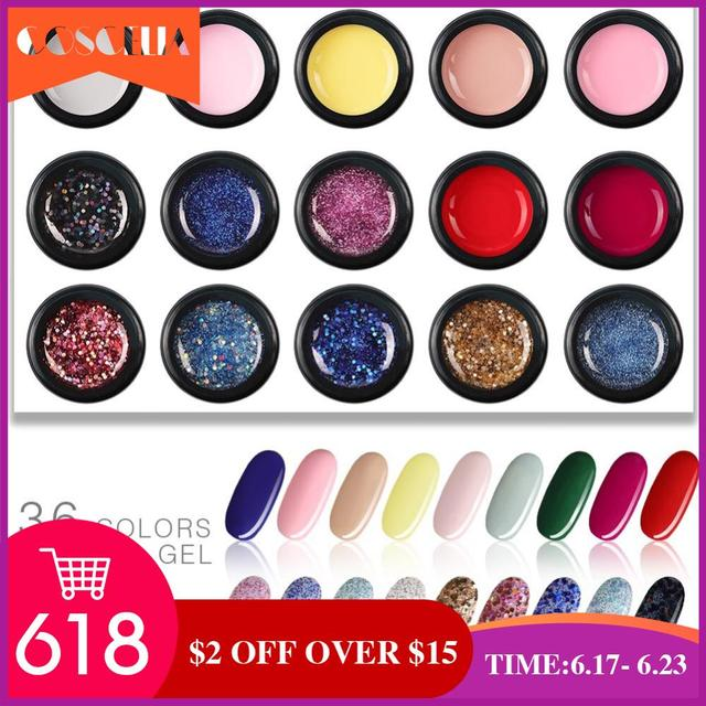 COSCELIA UV Gel Nail Polish Set 36 Color 5ml Professional Paint Gel Varnish Poly Gel Salon Paint Soak Off For Nail Art Manicure