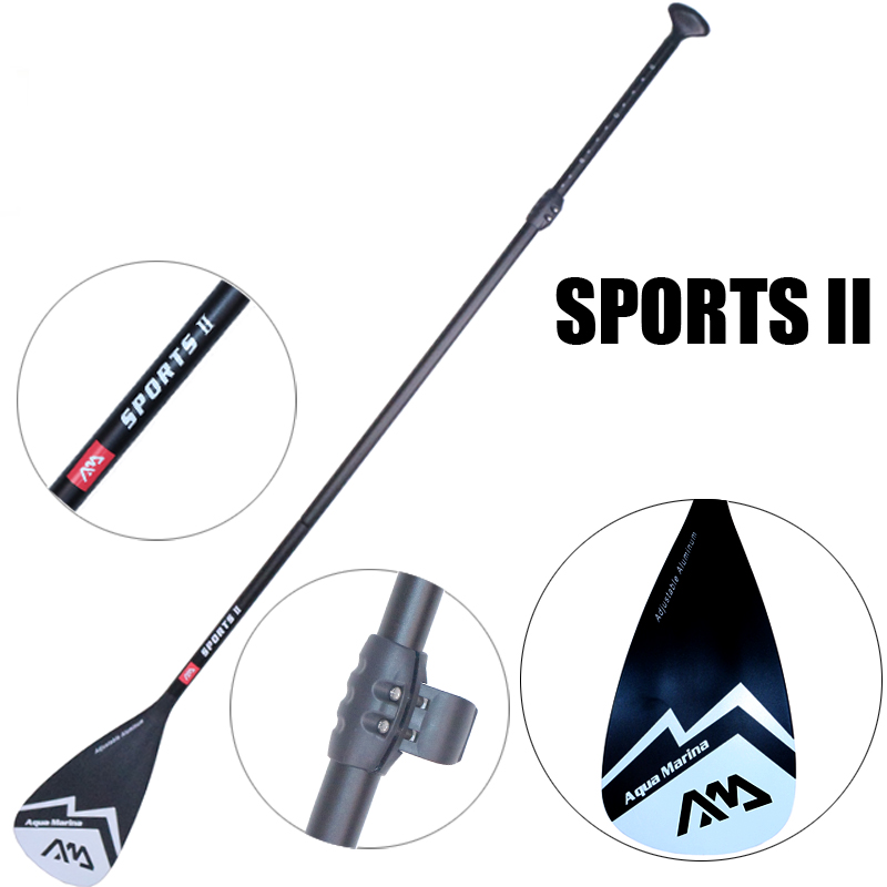 Black extendable paddle oar SUP AQUA MARINA stand up board 3 section surfing board aluminium 165-210cm inflatable boat A03003 shoulder bag carry bag for inflatable boat kayak sup board stand up paddle surfing board pump oar dinghy raft surf board a05011