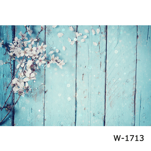 photography Background Wood Board backdrops blossom flowers on blue Turquoise wood plank photocall photophone photo booth Studio