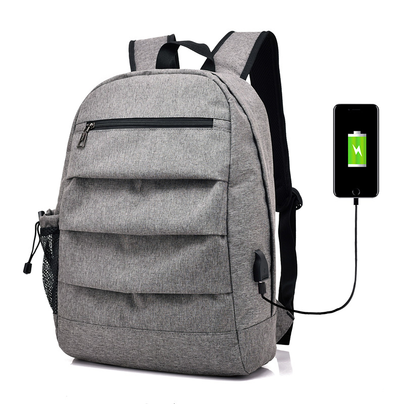 2018 New USB Charging Laptop Men Backpack For Teenagers Girls School Bag Black Gray Large Capacity Male Student Travel Mochila ozuko 14 inch laptop backpack large capacity waterproof men business computer bag oxford travel mochila school bag for teenagers