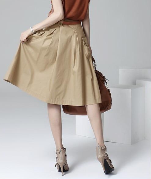 A-line Pockets Khaki and Black Button Midi Skirt 2