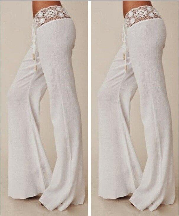 bebe00031ec9 Verano mujer Sexy blanco encaje pantalones sueltos pierna ancha pantalones  largos elegantes pantalones largos Mujer Pantalones Drop Shipping en  Pantalones y ...